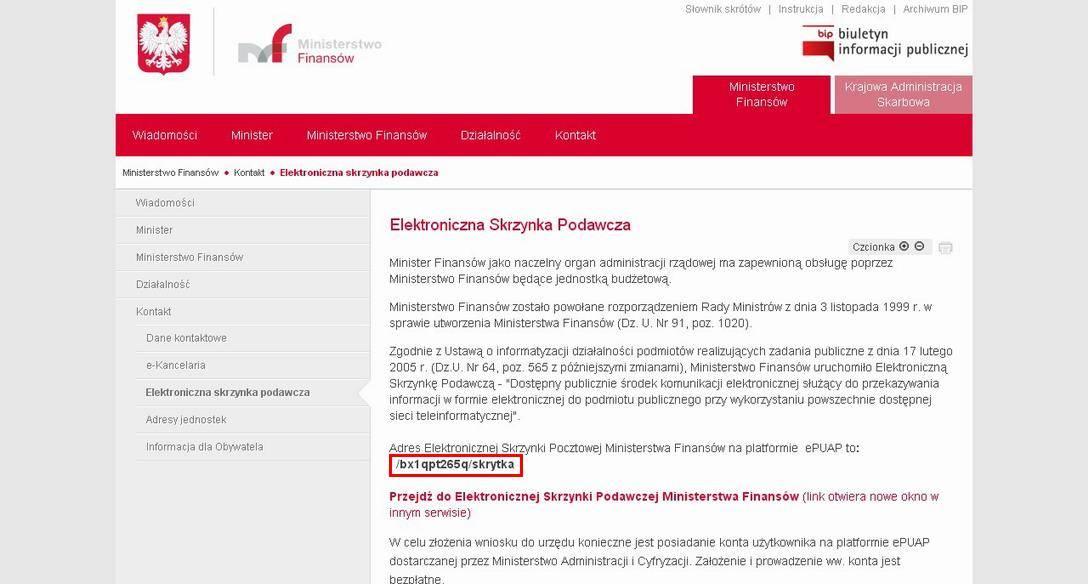 Adres ESP Ministerstwa Finansów