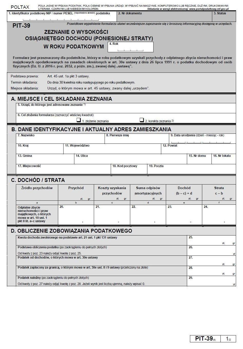 PIT-39 podatek od sprzedaży nieruchomości