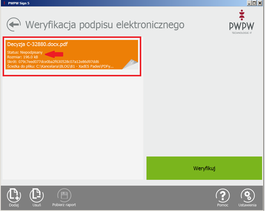 Niepodpisany dokument elektroniczny
