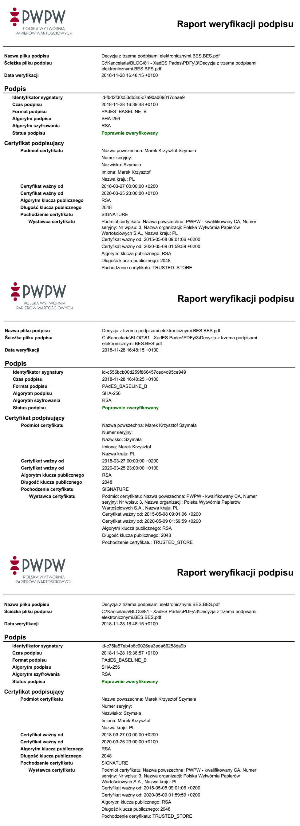 Raport z weryfikacji trzech podpisów elektronicznych