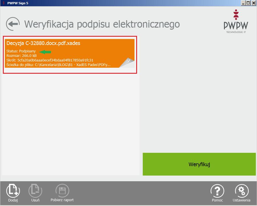 Weryfikacja podpisu elektronicznego