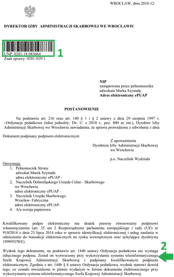 wydruk dokumentu podpisanego elektronicznie