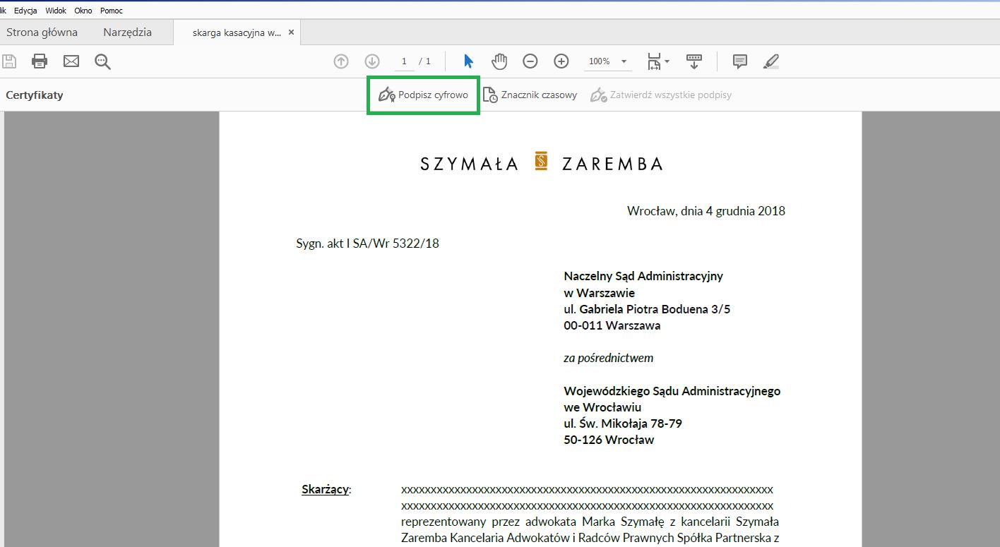 jak podpisać pdf podpisem kwalifikowanym